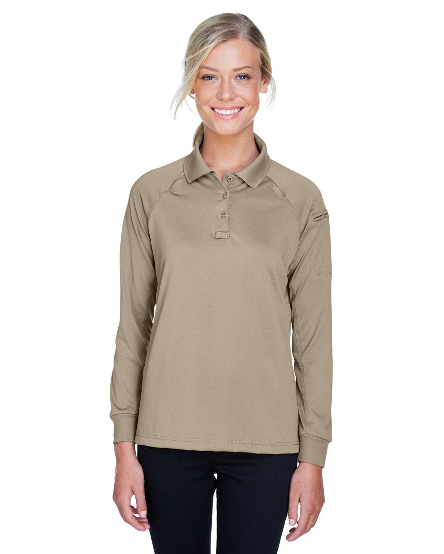 Harriton Ladies' Advantage Snag Protection Plus Long-Sleeve Tactical Polo DESERT KHAKI