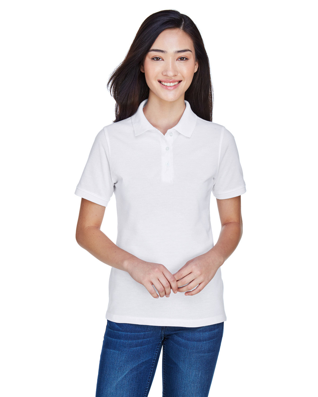 Harriton Ladies' 5.6 oz. Easy Blend™ Polo WHITE