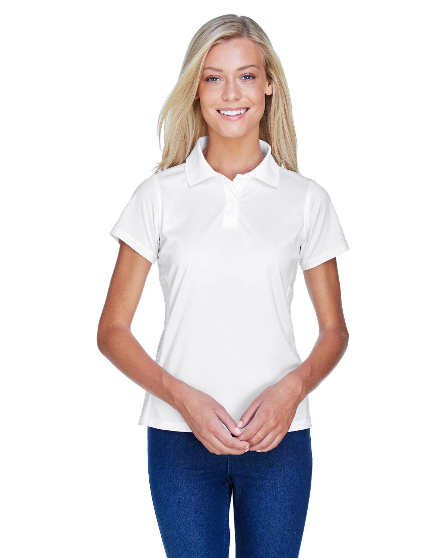 Harriton Ladies' 4 oz. Polytech Polo WHITE