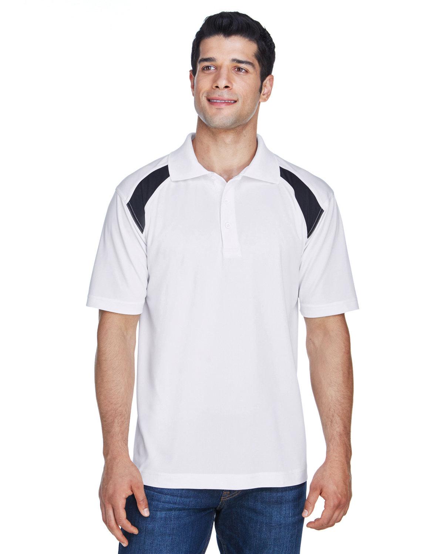 Harriton Adult 4 oz. Polytech Colorblock Polo WHITE/ BLACK
