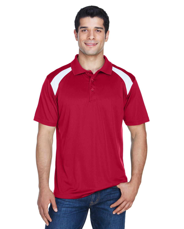 Harriton Adult 4 oz. Polytech Colorblock Polo RED/ WHITE