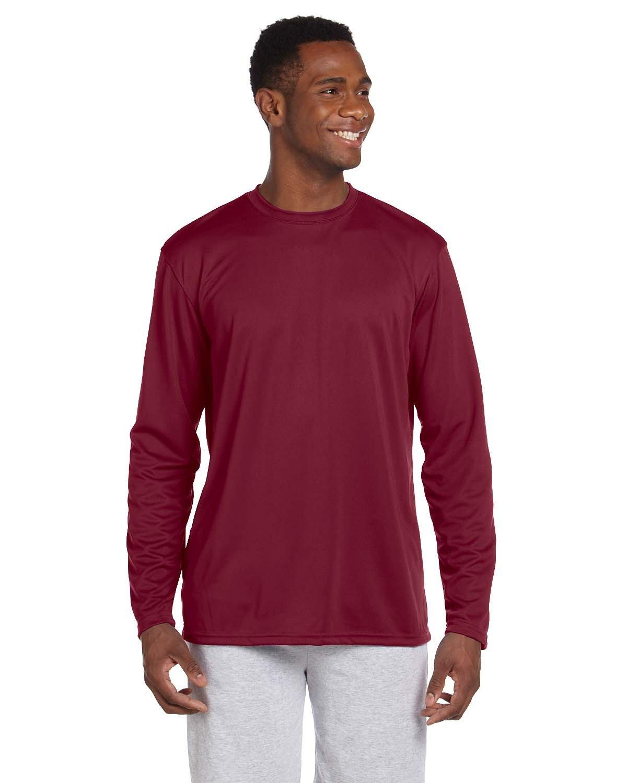 Harriton Adult 4.2 oz. Athletic Sport Long-Sleeve T-Shirt MAROON