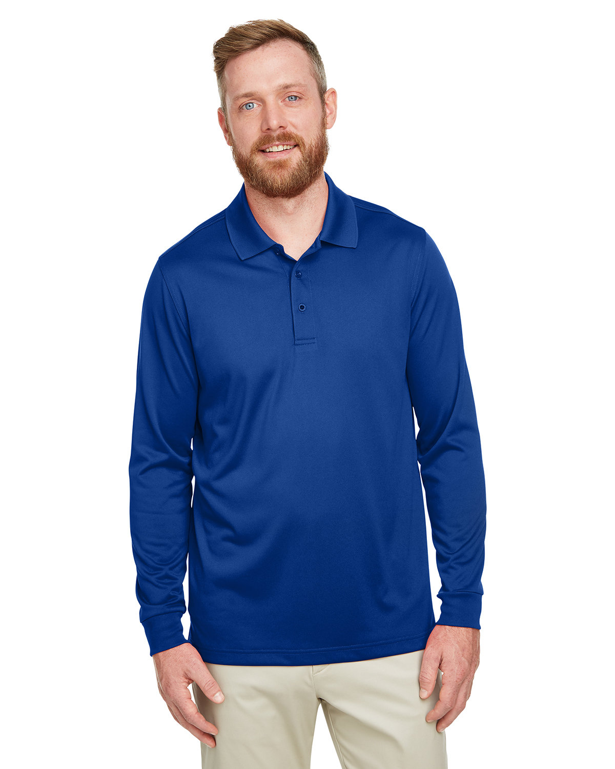 Harriton Men's Tall Advantage Long Sleeve Snag Protection Plus IL Polo TRUE ROYAL