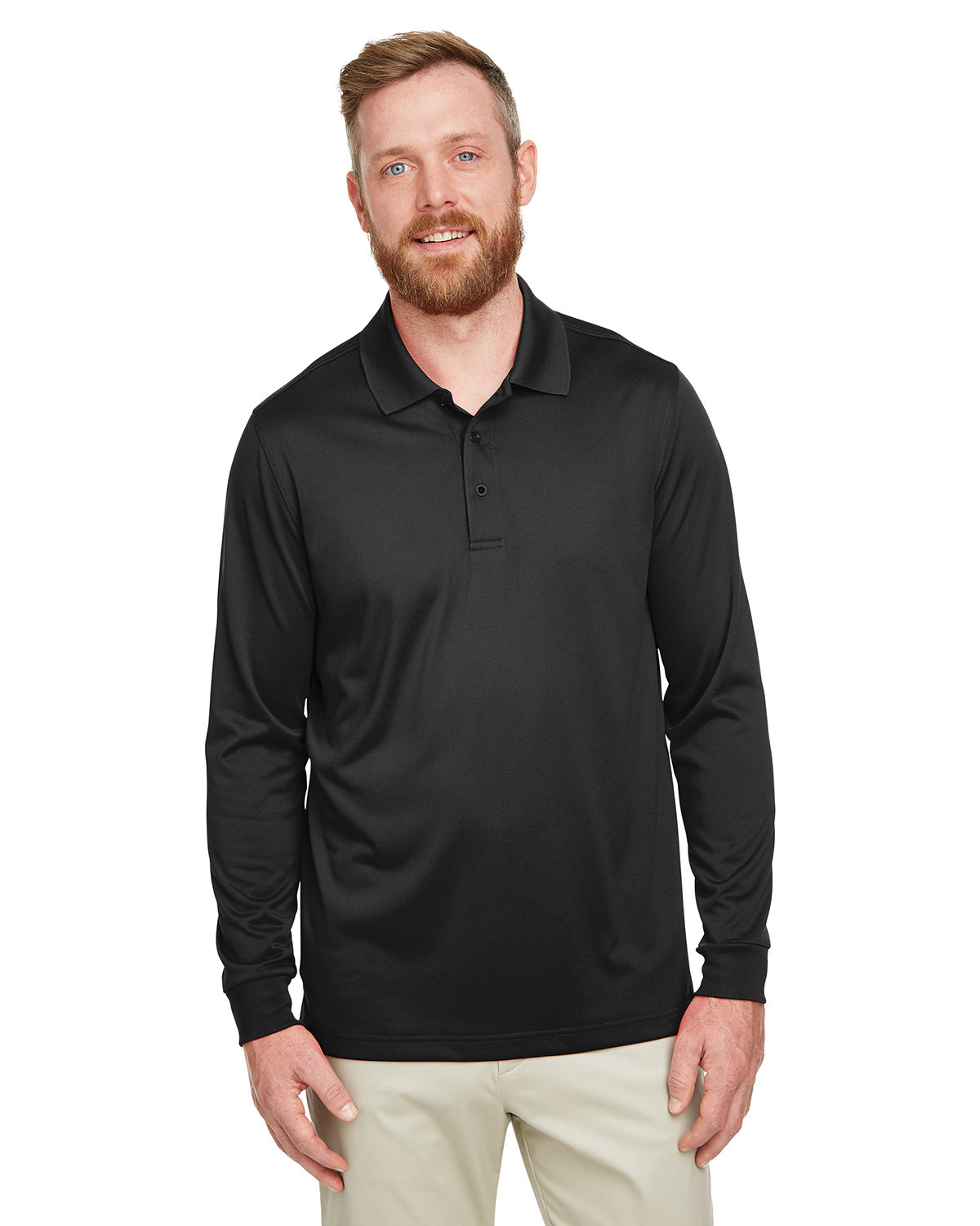 Harriton Men's Tall Advantage Long Sleeve Snag Protection Plus IL Polo BLACK