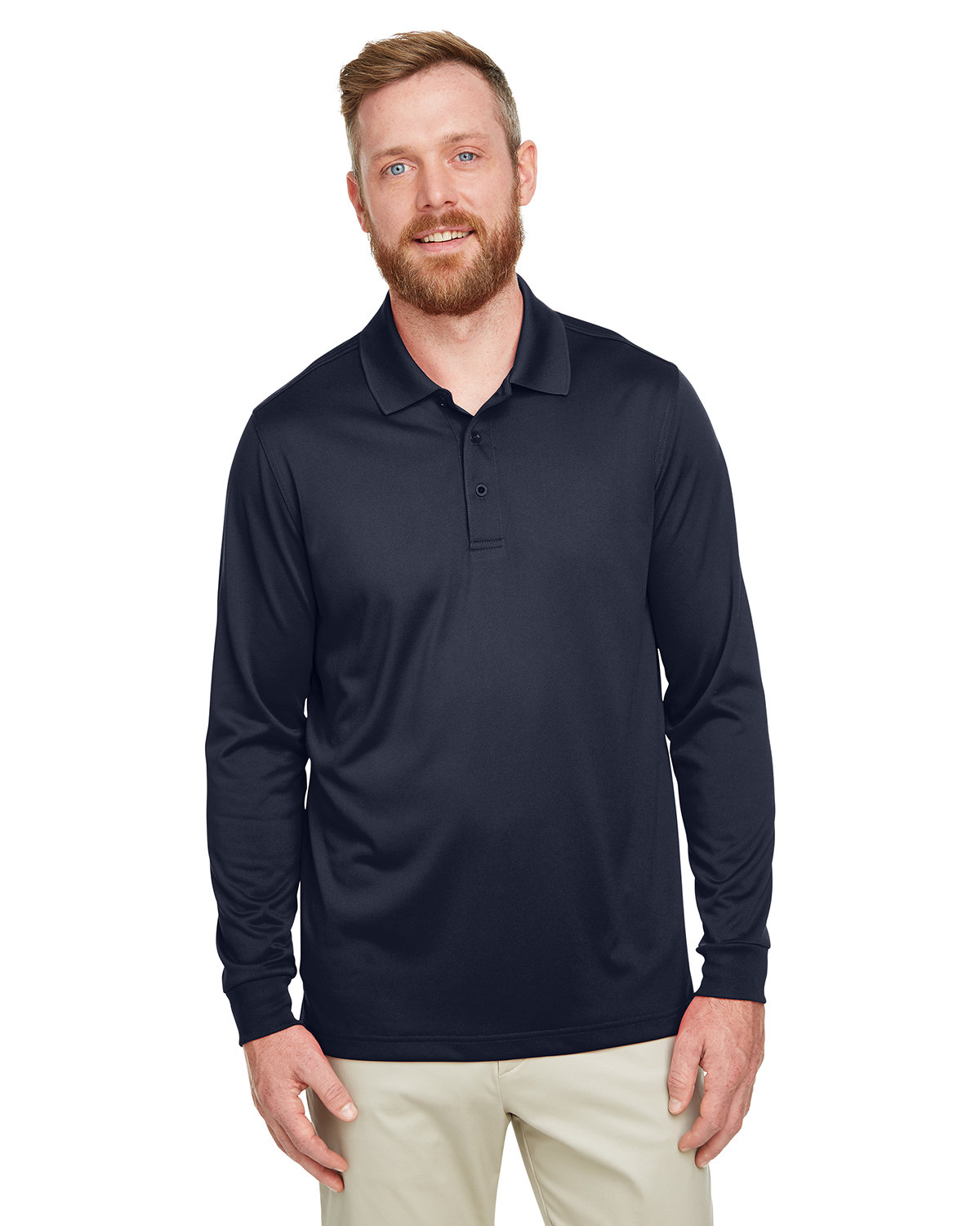 Harriton Men's Tall Advantage Long Sleeve Snag Protection Plus IL Polo DARK NAVY