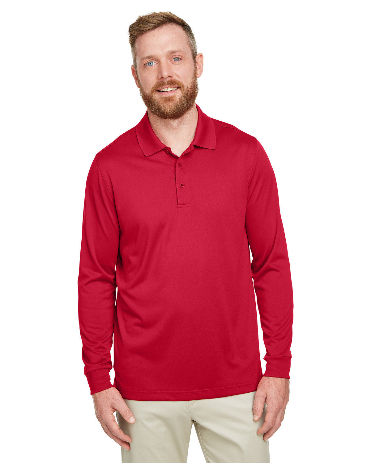 Harriton Men's Tall Advantage Long Sleeve Snag Protection Plus IL Polo RED