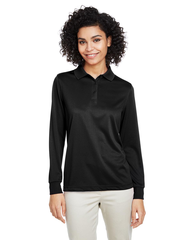 Harriton Ladies' Advantage Snag Protection Plus IL Long Sleeve Polo BLACK
