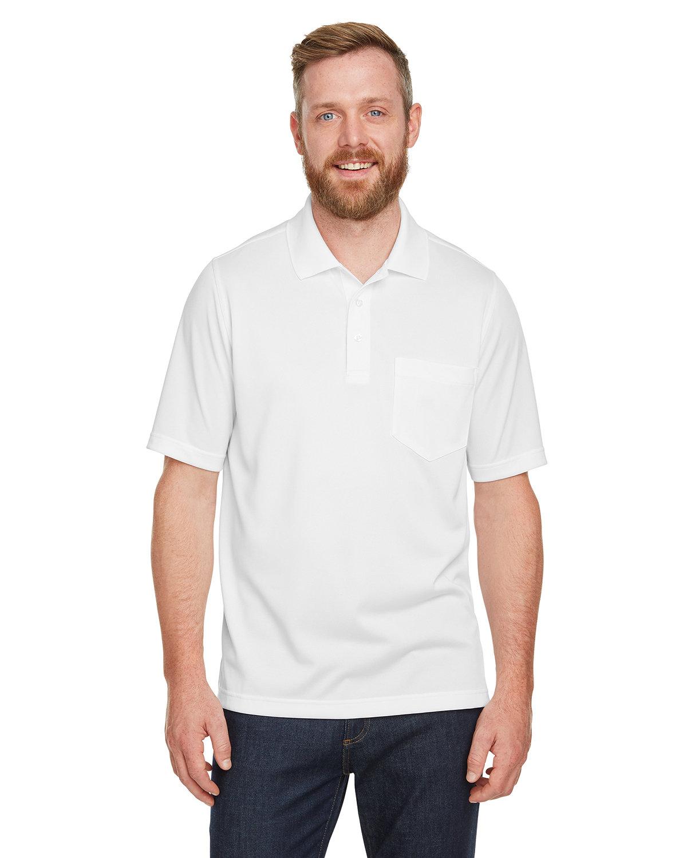 Harriton Men's Advantage Snag Protection Plus IL Pocket Polo WHITE