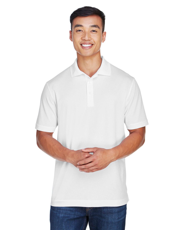 Harriton Men's Double Mesh Polo WHITE