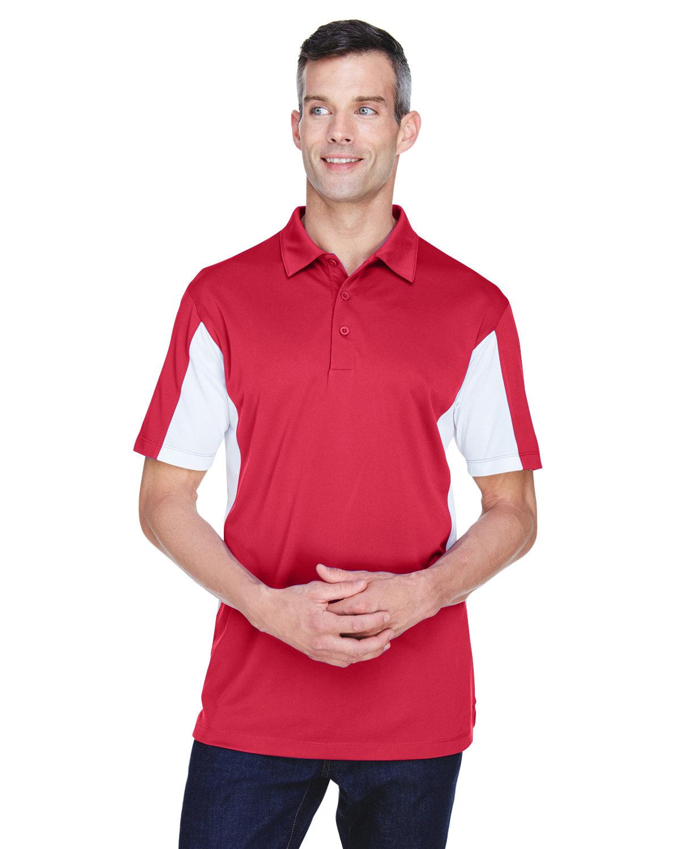 Harriton Men's Side Blocked Micro-Piqué Polo RED/ WHITE