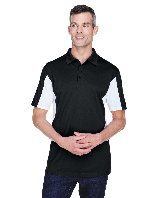 Harriton Men's Side Blocked Micro-Piqué Polo BLACK/ WHITE