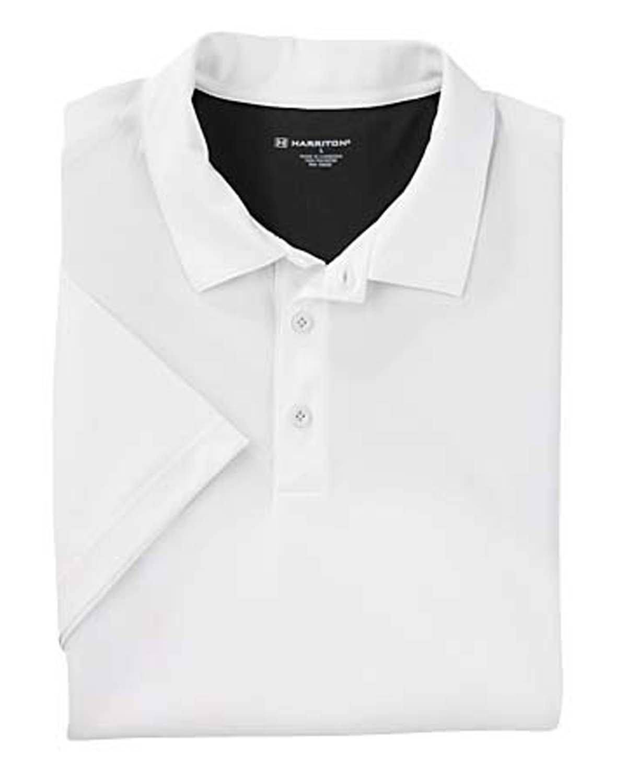 Harriton Men's Back Blocked Micro-Piqué Polo WHITE/ BLACK
