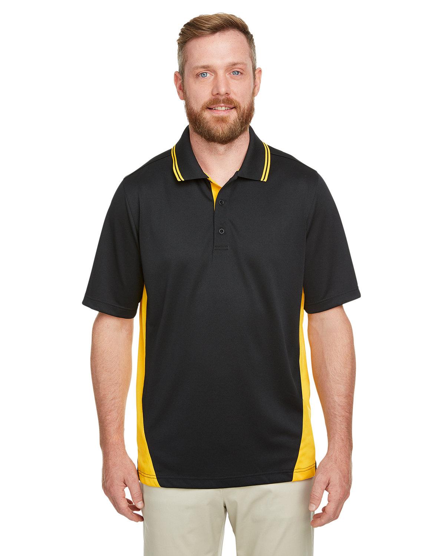 Harriton Men's Flash Snag Protection Plus IL Colorblock Polo BLACK/ SNRY YLLW