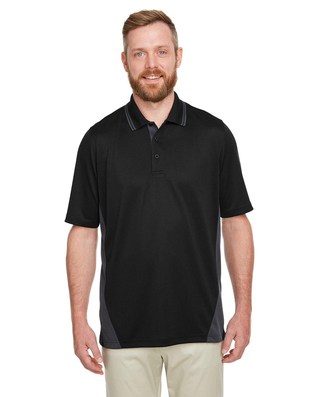 Harriton Men's Flash Snag Protection Plus IL Colorblock Polo BLACK/ DK CHARCL