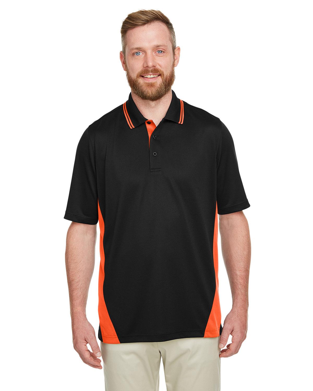Harriton Men's Flash Snag Protection Plus IL Colorblock Polo BLACK/ TM ORANGE