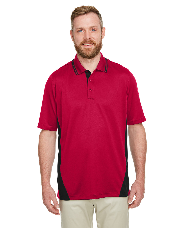 Harriton Men's Flash Snag Protection Plus IL Colorblock Polo RED/ BLACK