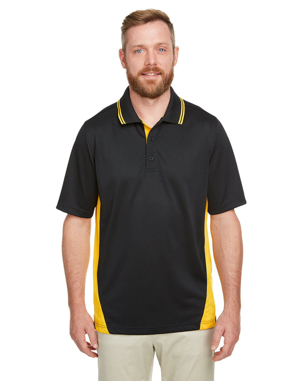 Harriton Men's Tall Flash Snag Protection Plus IL Colorblock Polo BLACK/ SNRY YLLW