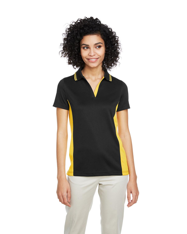 Harriton Ladies' Flash Snag Protection Plus IL Colorblock Polo BLACK/ SNRY YLLW