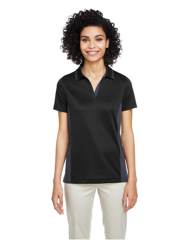 Harriton Ladies' Flash Snag Protection Plus IL Colorblock Polo BLACK/ DK CHARCL