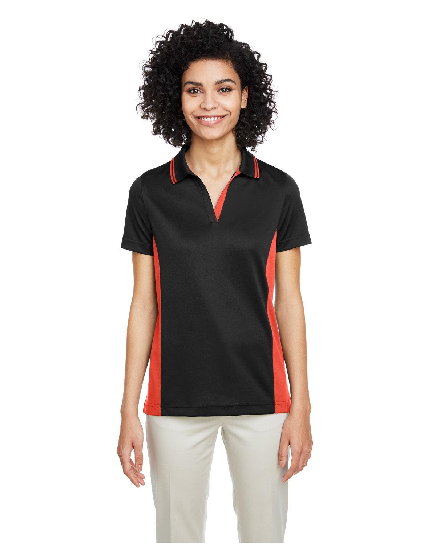 Harriton Ladies' Flash Snag Protection Plus IL Colorblock Polo BLACK/ TM ORANGE