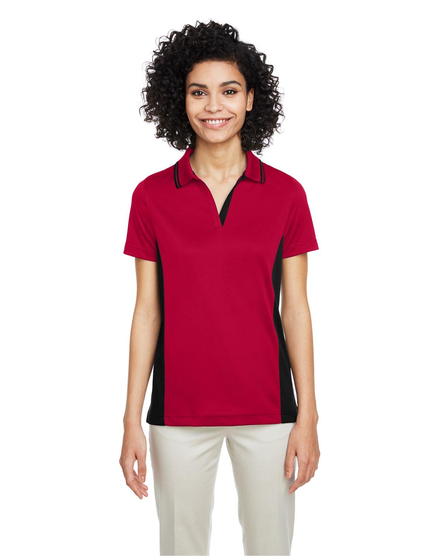 Harriton Ladies' Flash Snag Protection Plus IL Colorblock Polo RED/ BLACK