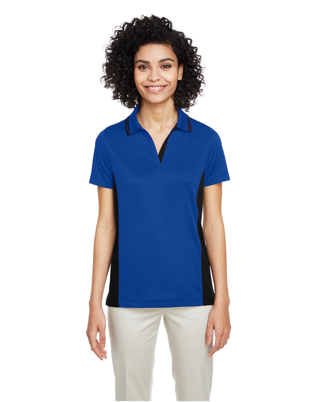 Harriton Ladies' Flash Snag Protection Plus IL Colorblock Polo TR ROYAL/ BLACK