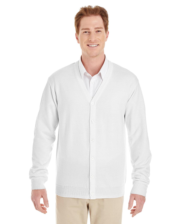 Harriton Men's Pilbloc™ V-Neck Button Cardigan Sweater WHITE