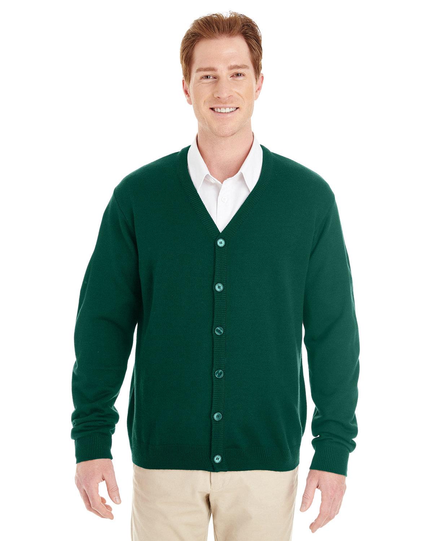 Harriton Men's Pilbloc™ V-Neck Button Cardigan Sweater HUNTER