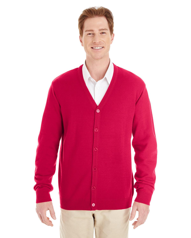 Harriton Men's Pilbloc™ V-Neck Button Cardigan Sweater RED