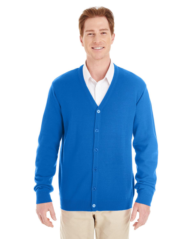 Harriton Men's Pilbloc™ V-Neck Button Cardigan Sweater TRUE ROYAL
