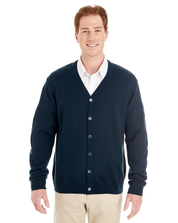 Harriton Men's Pilbloc™ V-Neck Button Cardigan Sweater DARK NAVY