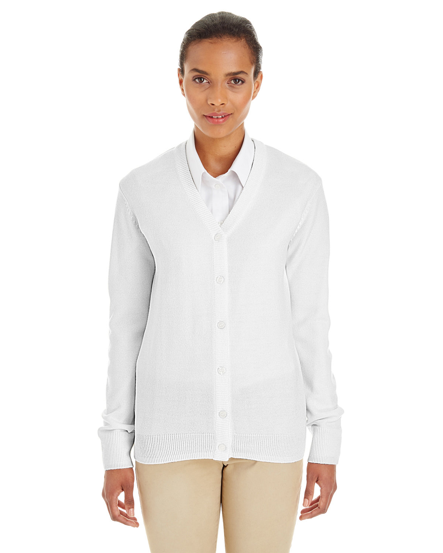 Harriton Ladies' Pilbloc™ V-Neck Button Cardigan Sweater WHITE