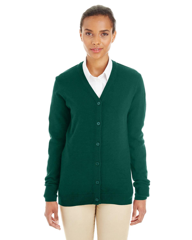 Harriton Ladies' Pilbloc™ V-Neck Button Cardigan Sweater HUNTER