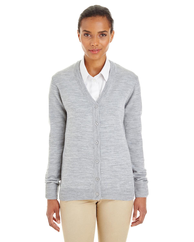 Harriton Ladies' Pilbloc™ V-Neck Button Cardigan Sweater GREY HEATHER