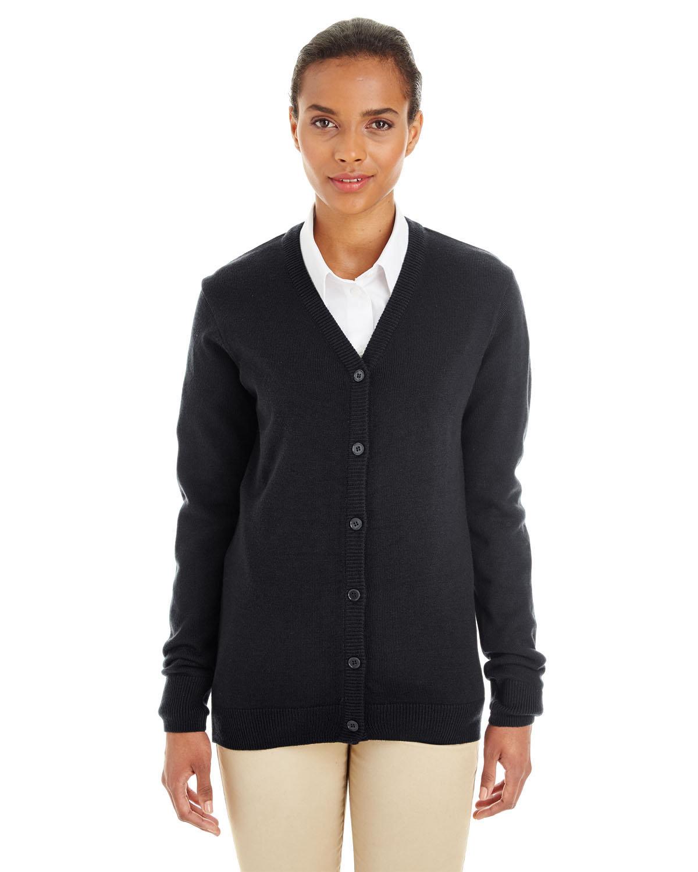 Harriton Ladies' Pilbloc™ V-Neck Button Cardigan Sweater BLACK