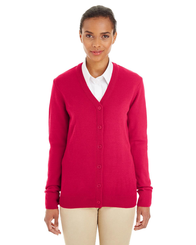 Harriton Ladies' Pilbloc™ V-Neck Button Cardigan Sweater RED