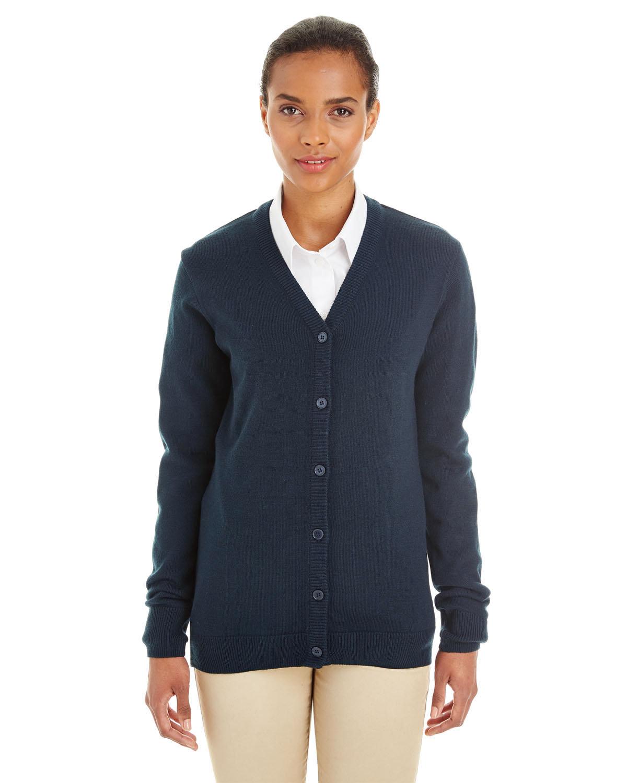 Harriton Ladies' Pilbloc™ V-Neck Button Cardigan Sweater DARK NAVY