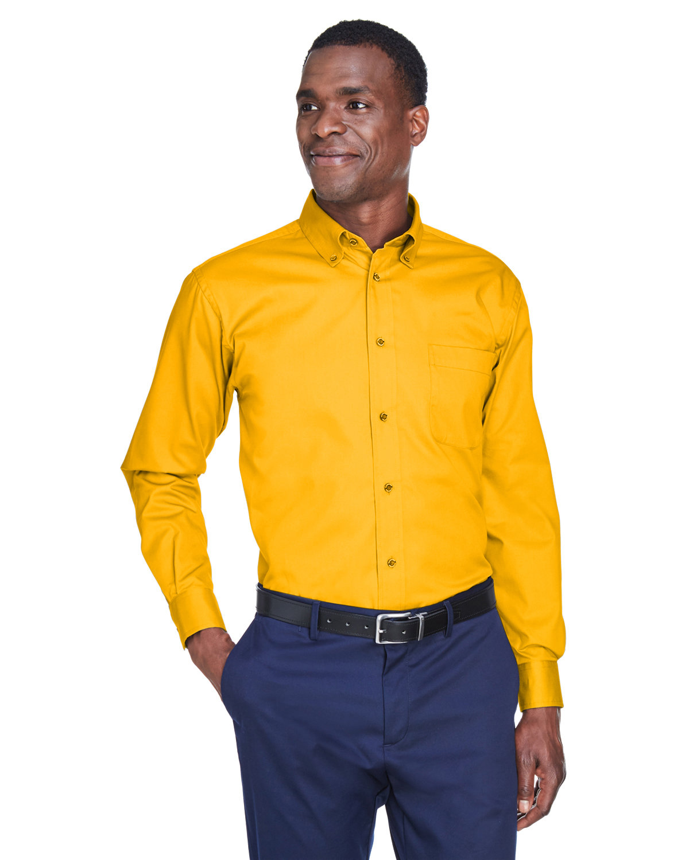 Harriton Men's Easy Blend™ Long-Sleeve TwillShirt withStain-Release SUNRAY YELLOW