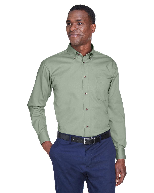 Harriton Men's Easy Blend™ Long-Sleeve TwillShirt withStain-Release DILL