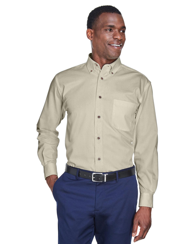 Harriton Men's Easy Blend™ Long-Sleeve TwillShirt withStain-Release CREME