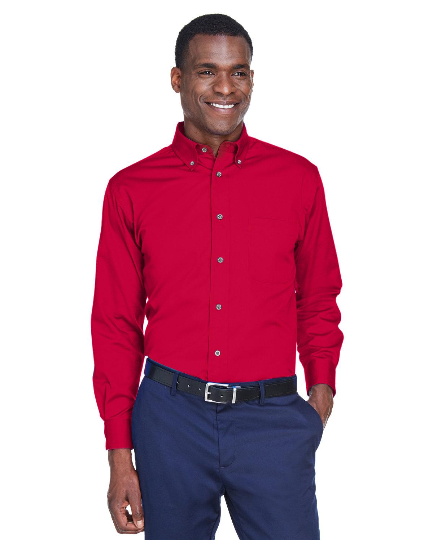 Harriton Men's Easy Blend™ Long-Sleeve TwillShirt withStain-Release RED