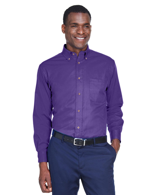 Harriton Men's Easy Blend™ Long-Sleeve TwillShirt withStain-Release TEAM PURPLE