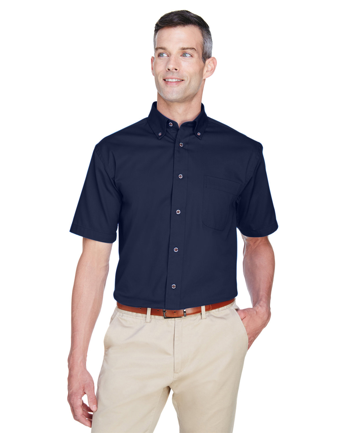 Harriton Men's Easy Blend™ Short-Sleeve Twill Shirt with Stain-Release NAVY