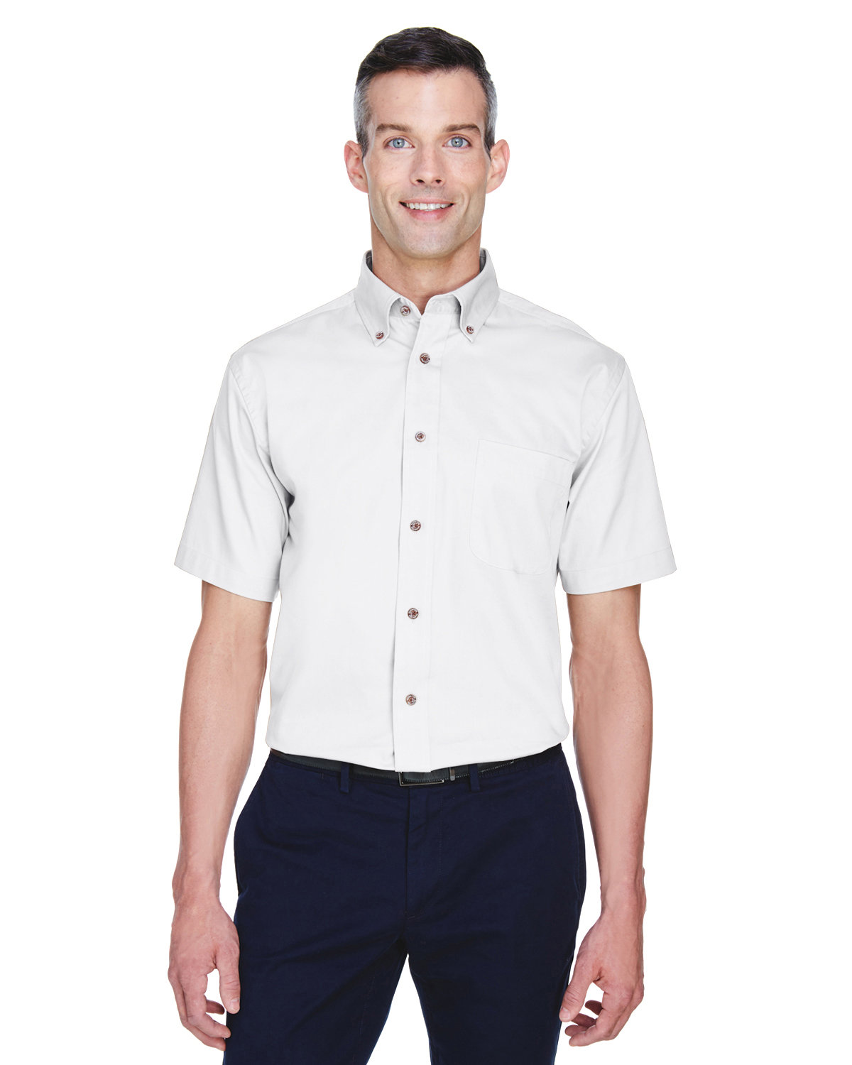 Harriton Men's Easy Blend™ Short-Sleeve Twill Shirt with Stain-Release WHITE