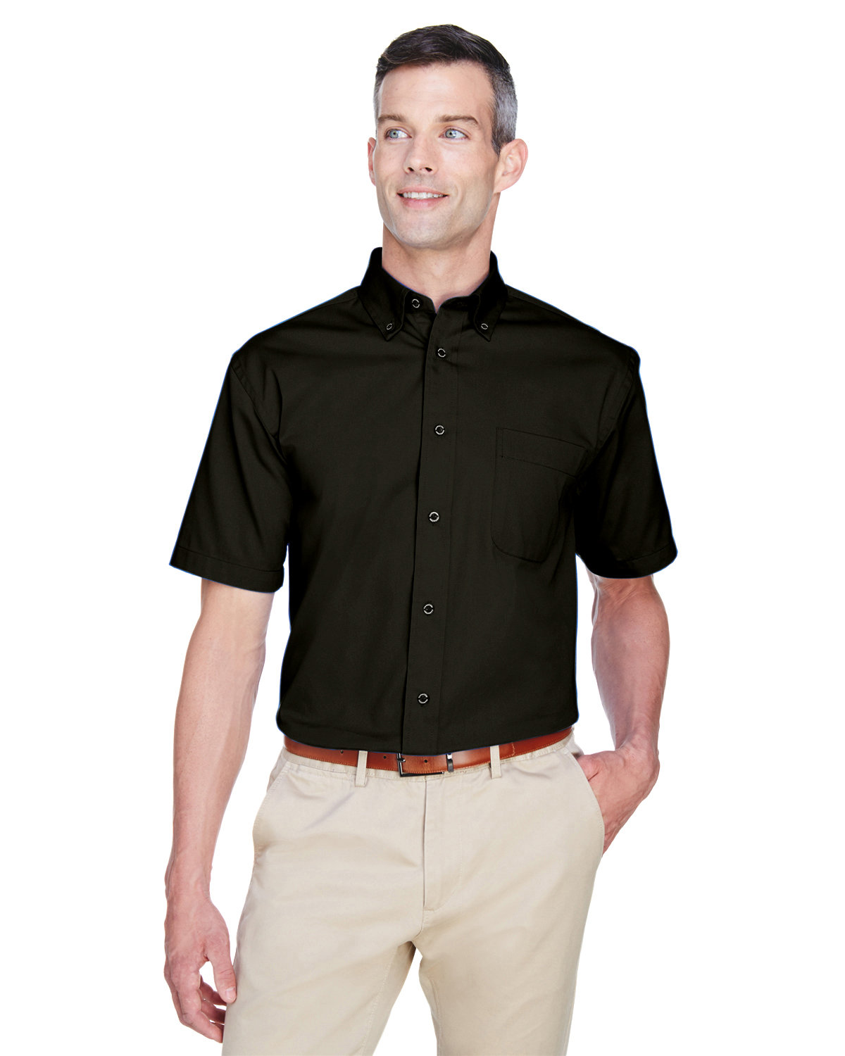 Harriton Men's Easy Blend™ Short-Sleeve Twill Shirt with Stain-Release BLACK