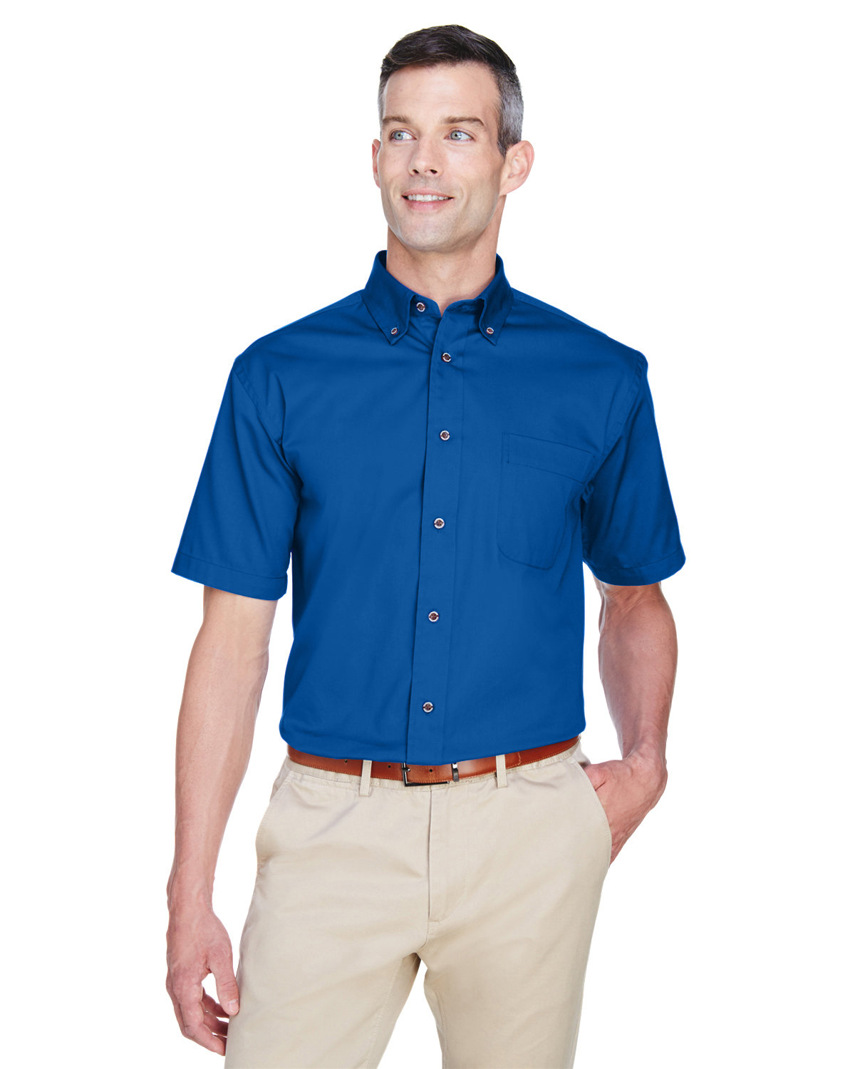 Harriton Men's Easy Blend™ Short-Sleeve Twill Shirt with Stain-Release FRENCH BLUE