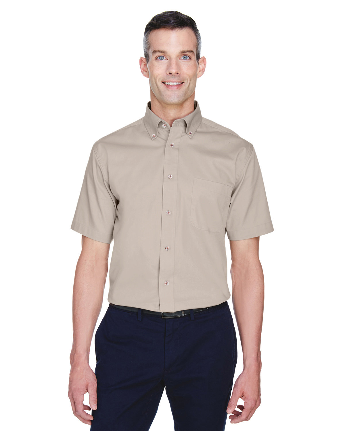 Harriton Men's Easy Blend™ Short-Sleeve Twill Shirt with Stain-Release STONE