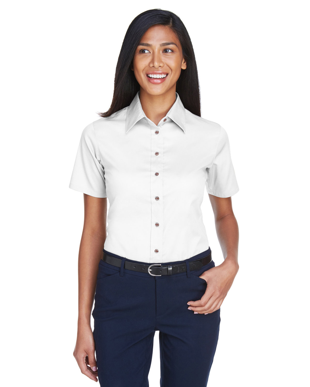 Harriton Ladies' Easy Blend™ Short-Sleeve Twill Shirt withStain-Release WHITE