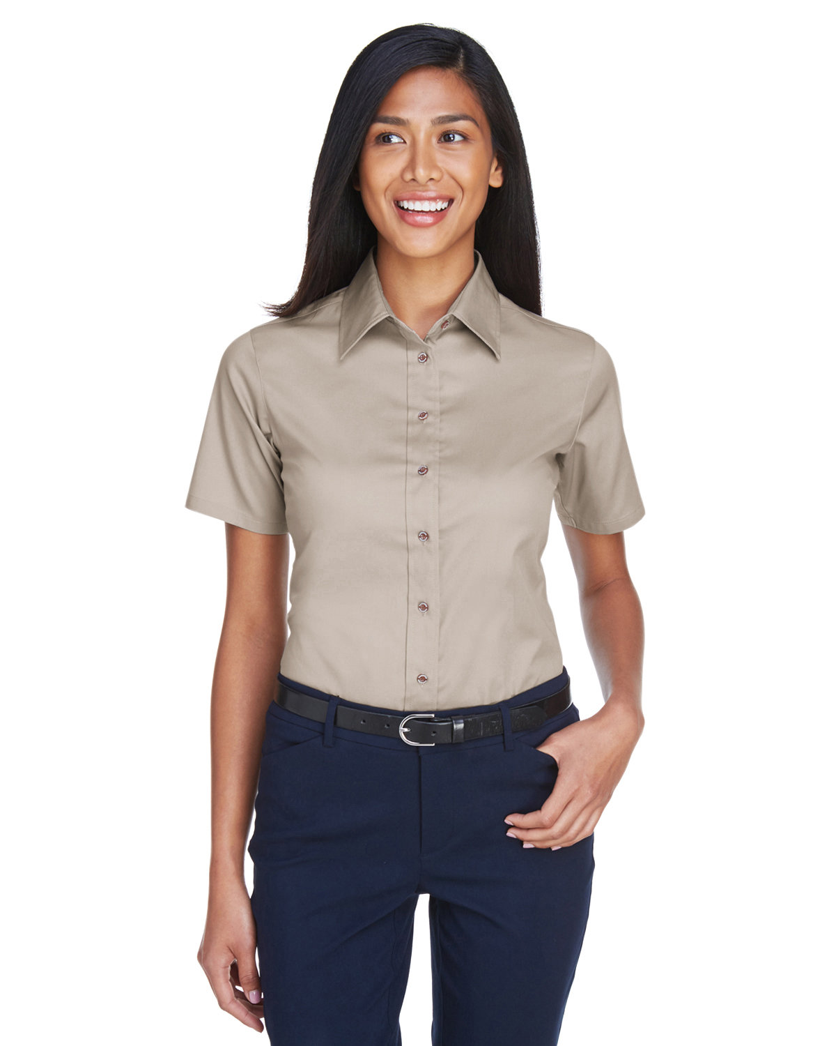 Harriton Ladies' Easy Blend™ Short-Sleeve Twill Shirt withStain-Release STONE