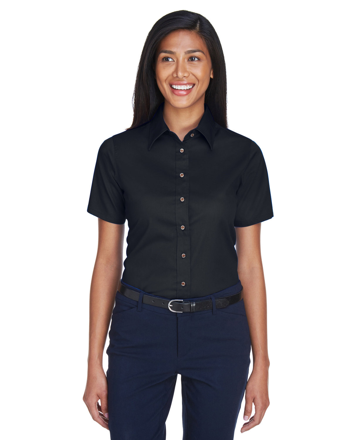 Harriton Ladies' Easy Blend™ Short-Sleeve Twill Shirt withStain-Release BLACK